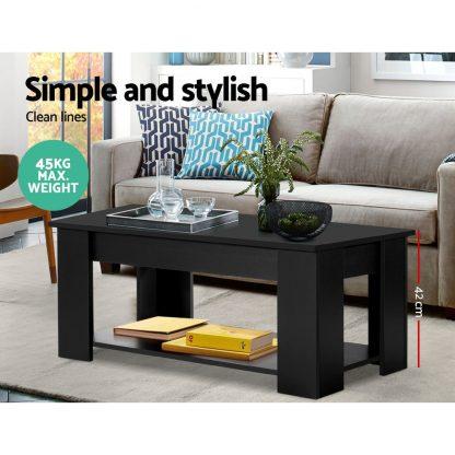 Artiss Lift Up Top Coffee Table Storage Shelf Black