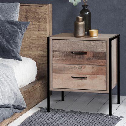 Artiss Bedside Table Drawers Nightstand Metal Oak