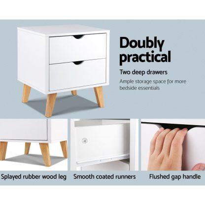 Artiss 2 Drawer Wooden Bedside Tables - White