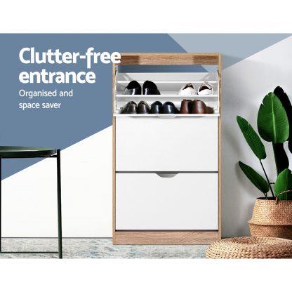 Artiss 36 Pairs Shoe Cabinet Rack Organiser Storage Shelf Wooden