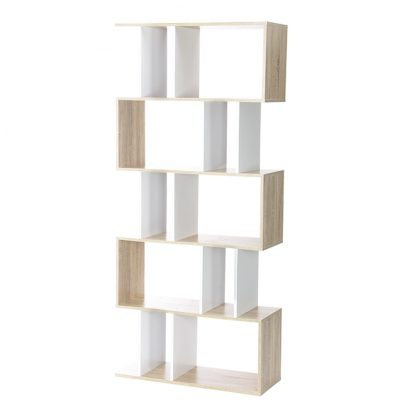 Artiss 5 Tier Display Book Storage Shelf Unit - White Brown