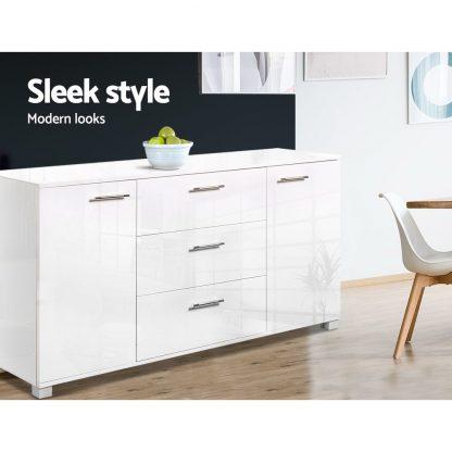 Artiss High Gloss Sideboard Storage Cabinet Cupboard - White