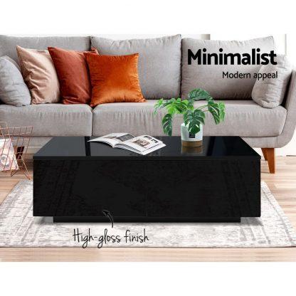 Artiss Modern Coffee Table 4 Storage Drawers High Gloss Living Room Furniture Black