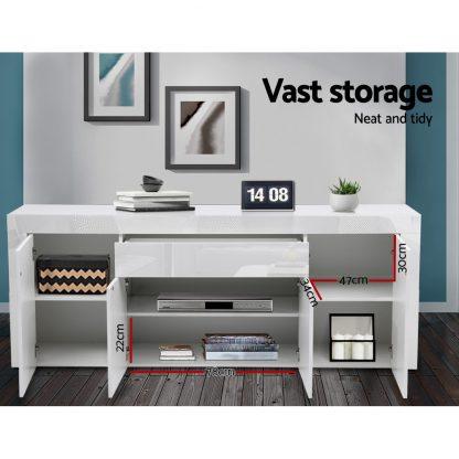 Artiss Buffet Sideboard Cabinet High Gloss Storage 4 Doors Cupboard Hall White