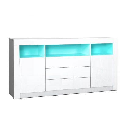Artiss Buffet Sideboard Cabinet 3 Drawers High Gloss Storage Cupboard LED
