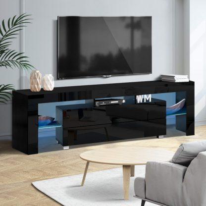 Artiss TV Cabinet Entertainment Unit Stand RGB LED Gloss Furniture 160cm Black