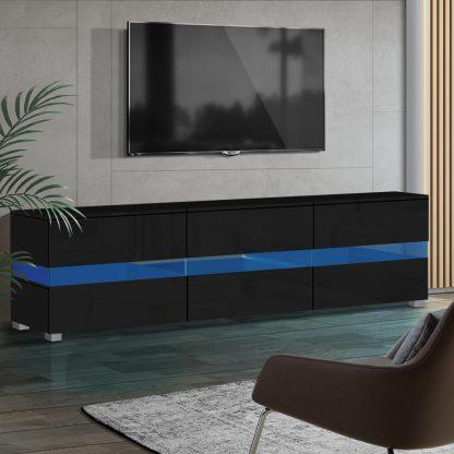 Artiss TV Cabinet Entertainment Unit Stand RGB LED Gloss Furniture 177cm Black