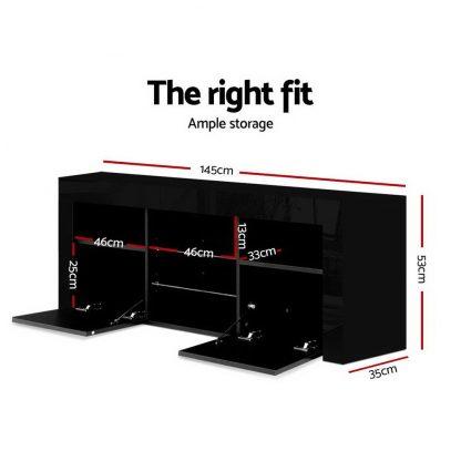 Artiss 145cm RGB LED TV Cabinet Entertainment Unit Stand Gloss Furniture Black