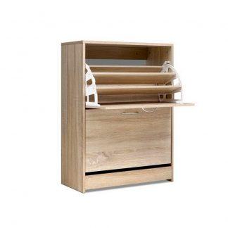 Artiss Shoe Cabinet Shoes Storage Rack 24 Pairs Organiser Shelf Cupboard Oak