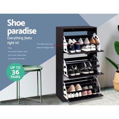 Artiss Shoe Cabinet Shoes Organiser Storage Rack 36 Pairs Shelf Cupboard Walnut