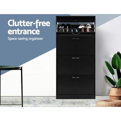 Artiss Shoe Cabinet Shoes Storage Rack Organiser 60 Pairs Black Shelf Drawer