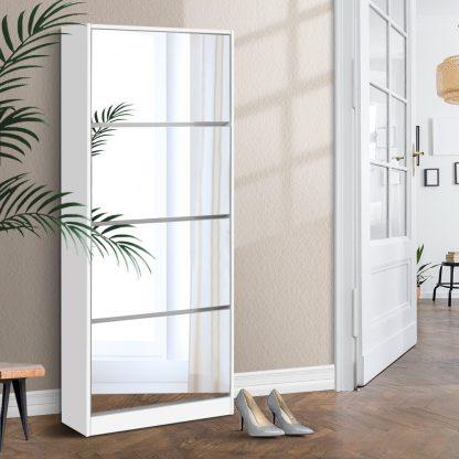 Artiss Shoe Cabinet Mirror Shoes Storage Rack Organiser 60 Pairs Cupboard Shelf