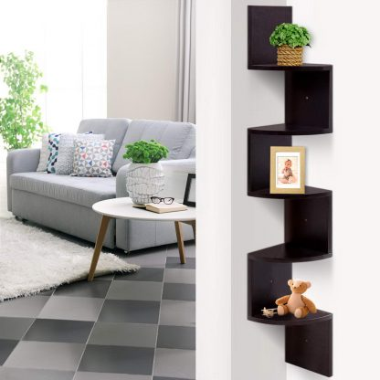 Artiss 5 Tier Corner Wall Floating Shelf Mount Display Bookshelf Rack Brown