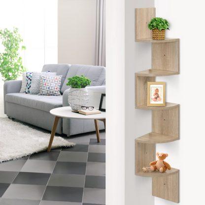 Artiss 5 Tier Corner Wall Floating Shelf Mount Display Bookshelf Rack Oak