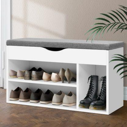 Artiss Shoe Cabinet Bench Shoes Organiser Storage Rack Shelf White Cupboard Box