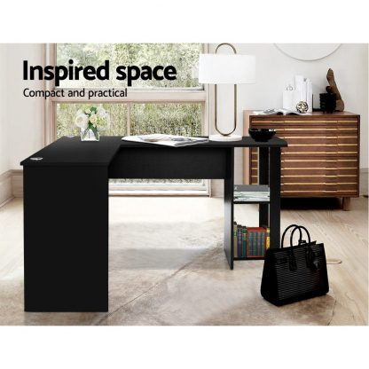 Artiss Office Computer Desk Corner Student Study Table Workstation L-Shape Black