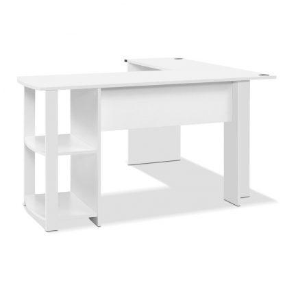 Artiss Office Computer Desk Corner Student Study Table Workstation L-Shape Shelf White