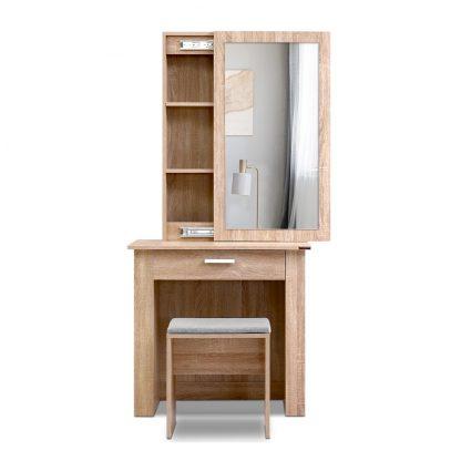 Artiss Dressing Table Mirror Stool Mirror Jewellery Cabinet Makeup Storage Wood