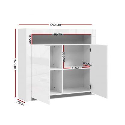 Artiss Buffet Sideboard Cabinet LED High Gloss Storage Cupboard 2 Doors White