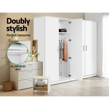 Artiss Multi-purpose Cupboard 2 Door 180cm Wardrobe Closet Storage Cabinet Kitchen Organiser White