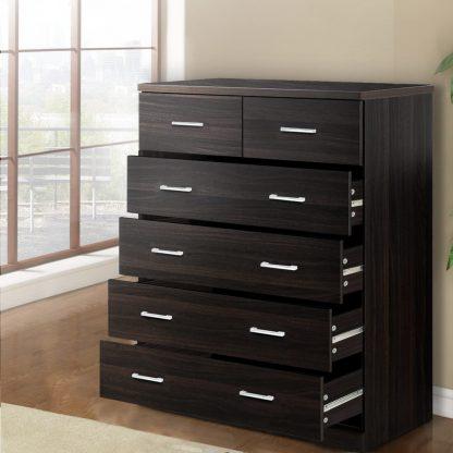 Artiss Tallboy 6 Drawers Storage Cabinet - Walnut