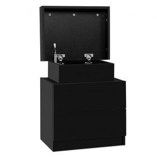 Artiss Bedside Tables 2 Drawers Side Table Storage Nightstand Black Bedroom Wood
