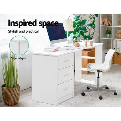 Artiss Office Computer Desk Student Study Table Workstation 3 Drawers Shelf 120cm