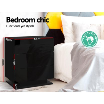 Artiss Bedside Tables Side Table RGB LED Lamp 3 Drawers Nightstand Gloss Black