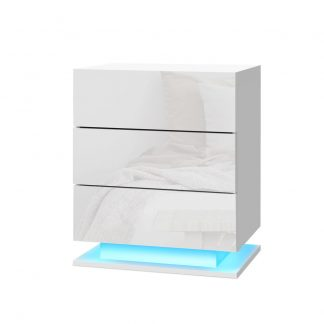 Artiss Bedside Tables Side Table RGB LED Lamp 3 Drawers Nightstand Gloss White