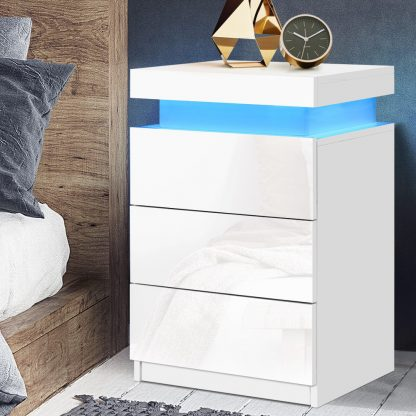 Artiss Bedside Tables Side Table 3 Drawers RGB LED High Gloss Nightstand White