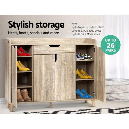 Artiss Shoe Cabinet Shoes Storage Rack 120cm Organiser Drawer Cupboard Wood