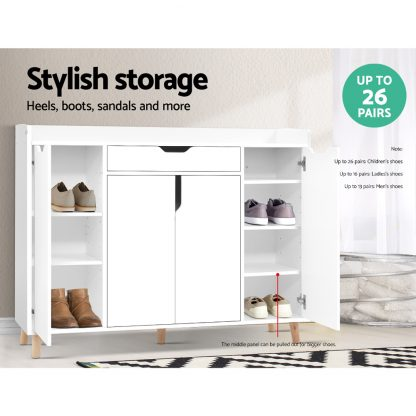 Artiss Shoe Cabinet Shoes Storage Rack 120cm Organiser White Drawer Cupboard