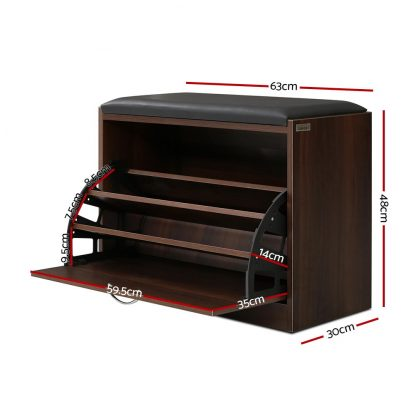 Artiss Shoe Cabinet Bench Shoes Storage Rack Organiser Drawer 15 Pairs Walnut