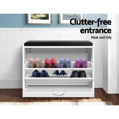 Artiss Shoe Cabinet Bench Shoes Storage Rack Organiser Drawer White 15 Pairs