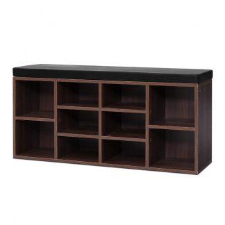 Artiss Shoe Cabinet Bench Shoes Storage Rack Organiser Shelf Cupboard Box Walnut