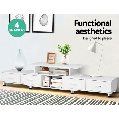 Artiss TV Cabinet Entertainment Unit Stand Wooden 160CM To 220CM Lowline Storage Drawers White