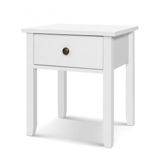Bedside Tables Drawer Side Table Nightstand White Storage Cabinet White Lamp