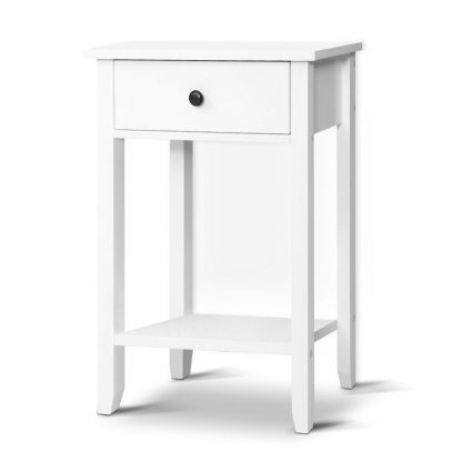 Bedside Tables Drawer Side Table Nightstand White Storage Cabinet White Shelf