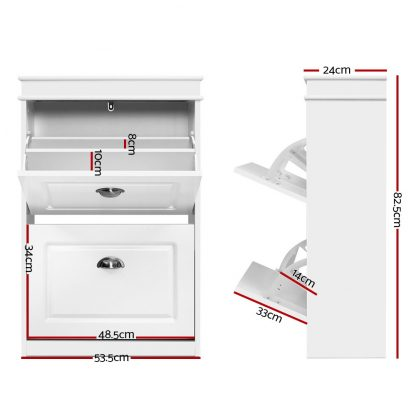 Shoe Cabinet Shoes Storage Rack White Organiser Shelf Cupboard Drawer 12 Pairs