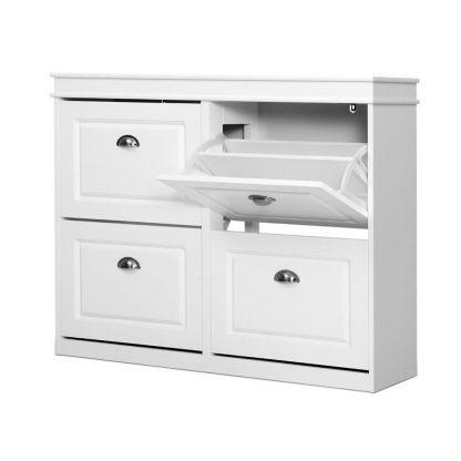 Shoe Cabinet Shoes Storage Rack Organiser White Shelf Drawer Cupboard 24 Pairs