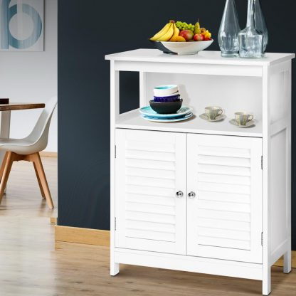 Buffet Sideboard Cabinet Kitchen Bathroom Storage Cupboard Hallway White Shelf