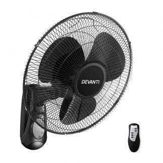 Devanti 40cm Wall Mounted Fan with Remote Control - Black