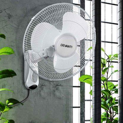 Devanti 40cm Wall Mounted Fan with Remote Control - White