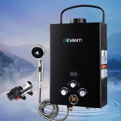 Devanti Outdoor Portable LPG Gas Hot Water Heater Shower Head 12V Water Pump Black