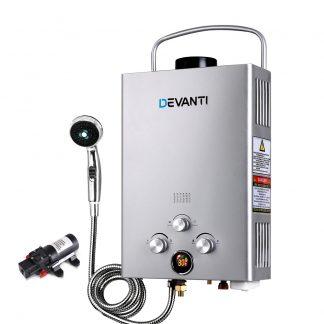 DEVANTi Outdoor Portable Gas Hot Water Heater Shower Camping LPG Caravan Pump Silver