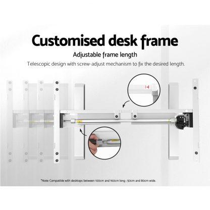 Motorised Adjustable Desk Frame White
