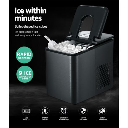 2.2L Ice Maker 12KG Portable Ice Makers Cube Tray Bar Home Countertop Black