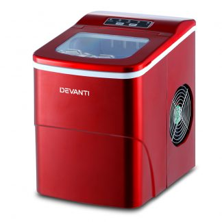 DEVANTi Portable Ice Cube Maker Machine 2L Home Bar Benchtop Easy Quick Red