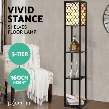 Artiss Floor Lamp Storage Shelf LED Lamps Vintage Standing Reading Light Bedroom