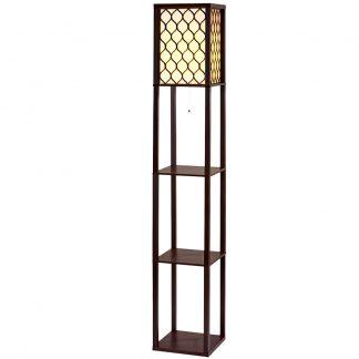 Artiss Floor Lamp LED Storage Shelf Standing Vintage Wood Light Reading Bedroom
